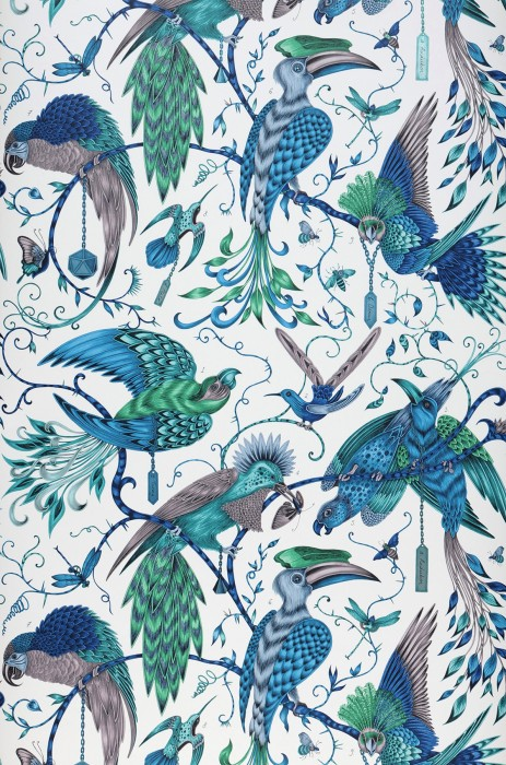 Wallpaper Volturi Matt Bugs Tendrils & branches Birds Cream Capri blue Grey violet Green Pastel turquoise shimmer Turquoise blue