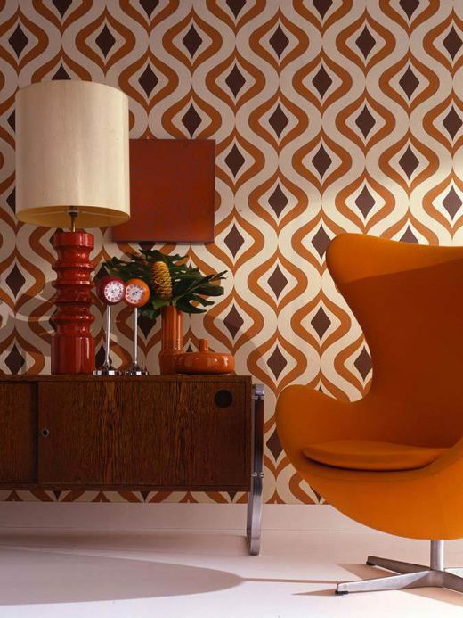 Turquoise Wallpaper Wallpaper Triton orange Room View