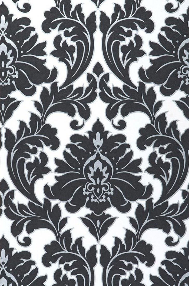 samanta blanc noir argent papier peint baroque motifs du papier peint papier peint. Black Bedroom Furniture Sets. Home Design Ideas
