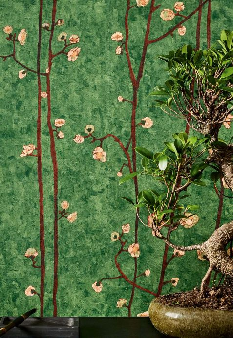 Botanical Wallpaper Wallpaper VanGogh Branches leaf green Room View
