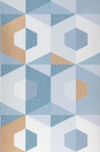 Wallpaper Fabrice Matt Graphic elements Hexagons Mint turquoise Ochre-brown shimmer Ocean blue White