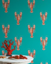 Wallpaper Zisani Matt Lobsters Turquoise Beige red Coral red