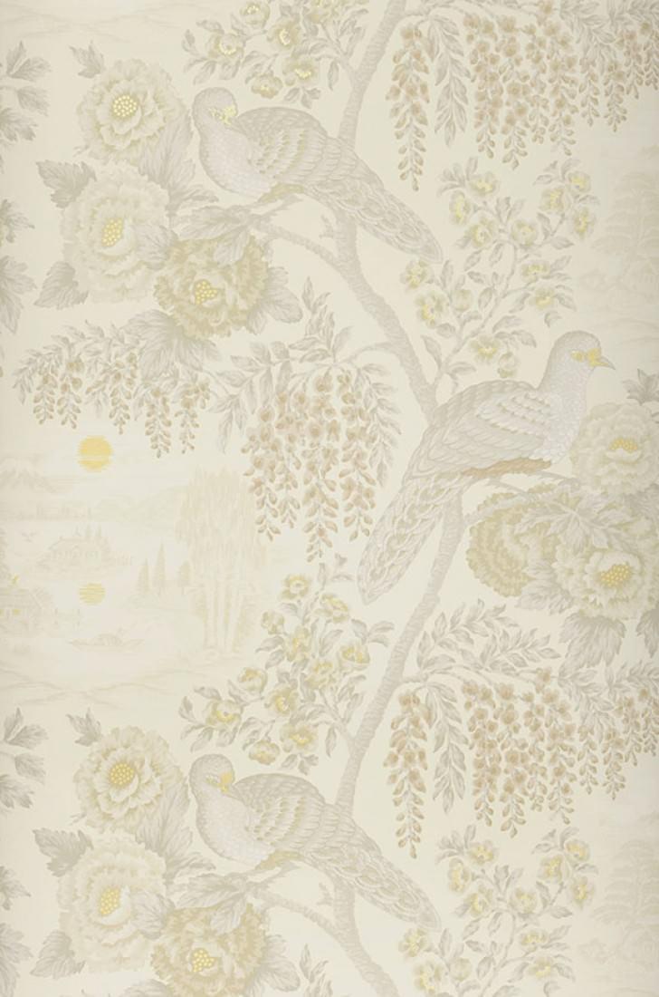 tapete infinito perlweiss braunbeige graubeige hellgelb schimmer tapeten der 70er. Black Bedroom Furniture Sets. Home Design Ideas