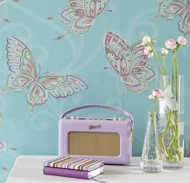 Wallpaper Butterfly Matt Butterflies Turquoise Green Violet White