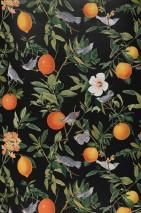Papier peint Imari Mat Fleurs Oiseaux Branches avec des feuilles et des fruits Gris noir Tons de vert Orange Blanc