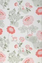 Wallpaper Lorraine Hand printed look Matt Flowers Rabbits Deer White Light pink Coral red Moss-green Pastel green