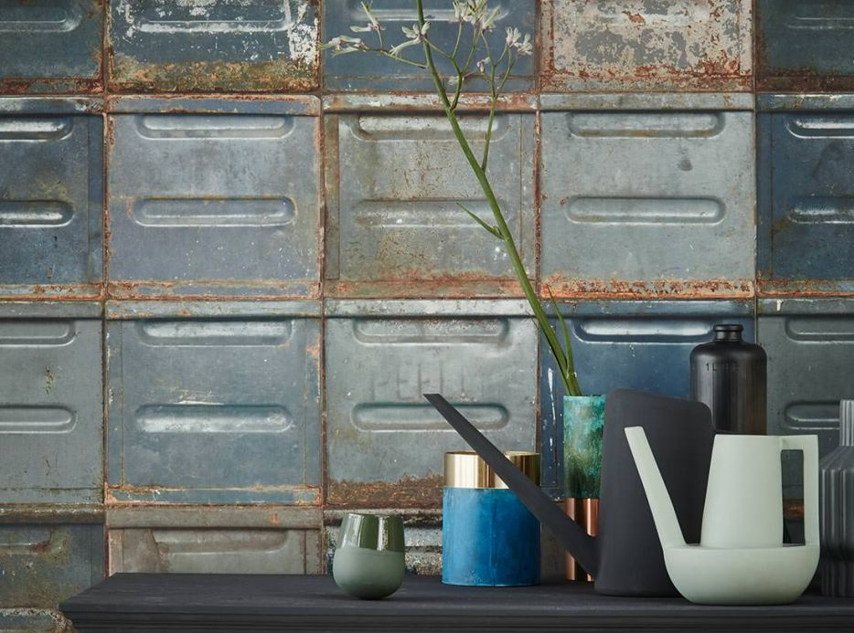 Papier peint de Studio Ditte Papier peint Container bleu gris Vue pièce