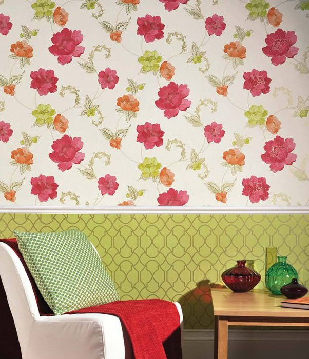 Wallpaper Florentina Matt Flowers Cream Yellow green Gold Raspberry red Orange