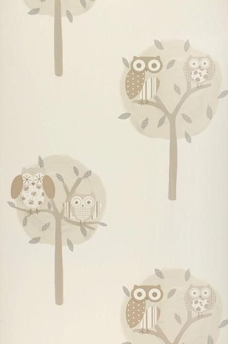 Papier peint Romary Mat Arbres Hiboux Blanc crème Brun pâle Gris Beige gris Beige gris clair