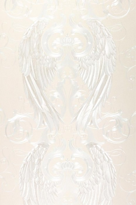 Wallpaper Morrigan Shimmering pattern Angel's wings Crowns Cream White