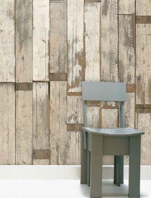 Papel pintado Scrapwood 02 gris parduzco claro Ver habitación