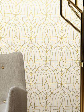 Papel de parede Lotus branco creme Raumansicht