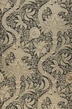 Wallpaper Primrose Matt Flower tendrils Anthracite Beige Pearl beige