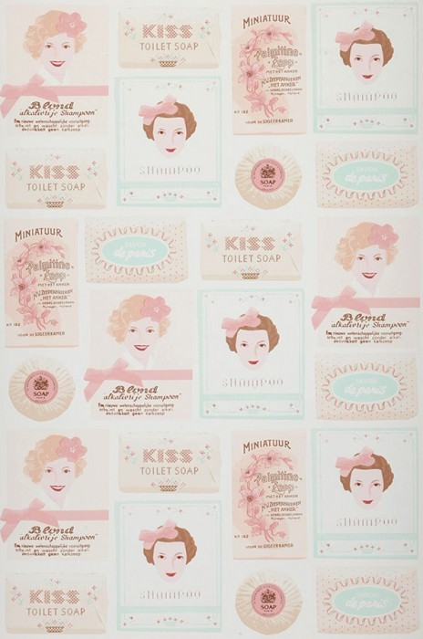 Wallpaper My sweet soap Matt Vintage labels White Pale brown Pale light green Light pink Rosewood