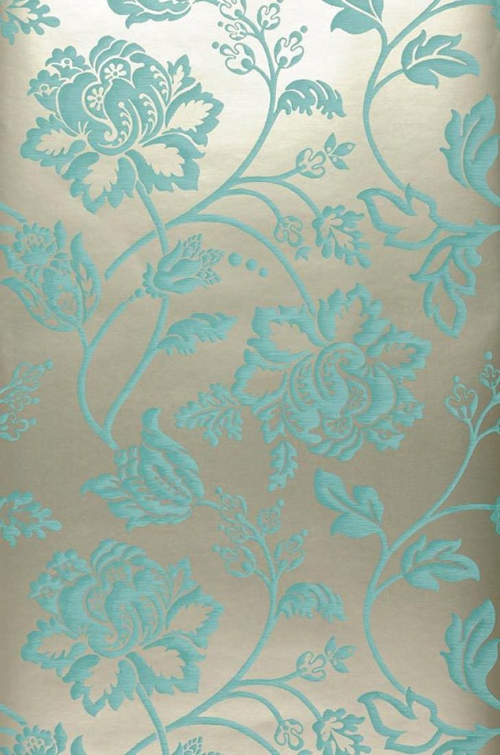 Papier peint ninkasi or blanc bleu turquoise papier peint des ann es 70 - Papier peint bleu turquoise ...