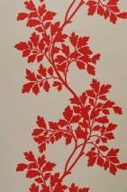 Papel pintado Proteus Mate Hojas zarcillos Marfil claro Rojo