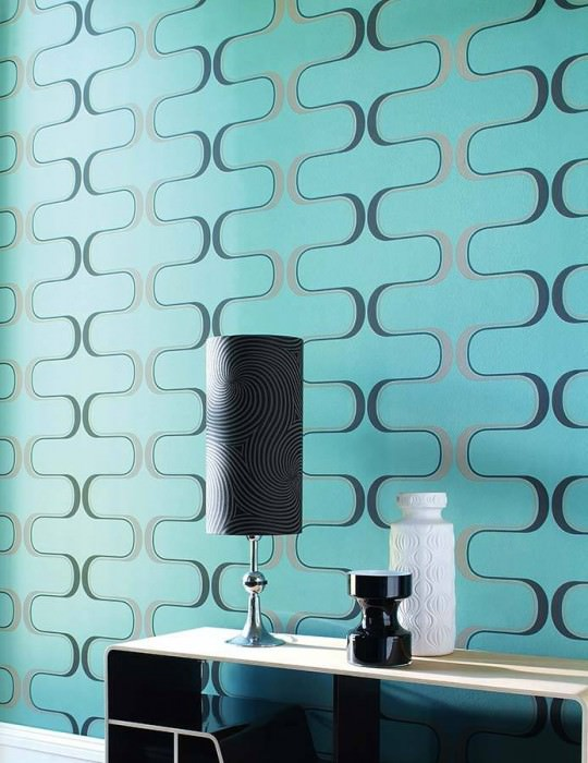 Wallpaper Dusares Matt pattern Shimmering base surface Oval ornaments Mint turquoise Beige Black