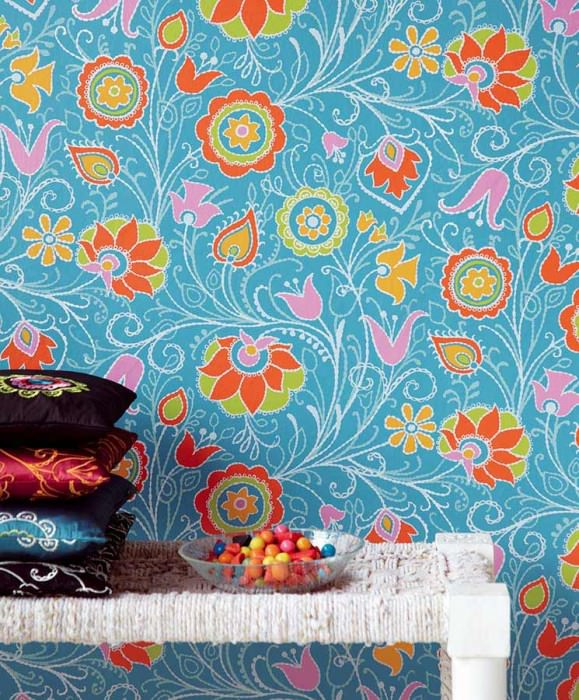 Wallpaper Flora Matt Stylised flowers Light turquoise blue Yellow green Golden yellow Orange Pink White