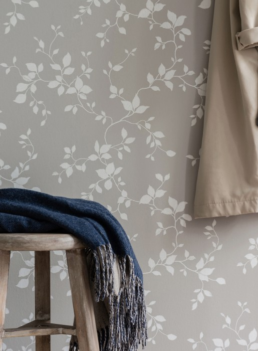Wallpaper Hikabe Hand printed look Matt Leaf tendrils Light grey Grey white