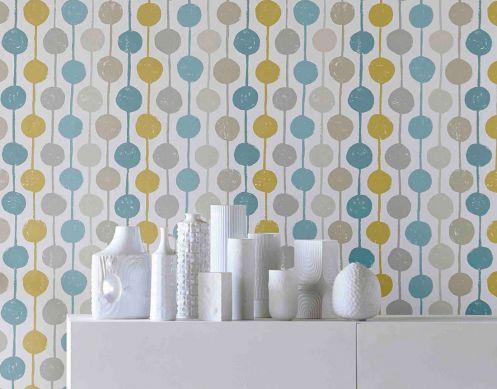 Wallpaper Almeda mint turquoise Room View