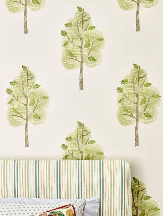 Papier peint botanique Papier peint Jody vert fougère Vue pièce