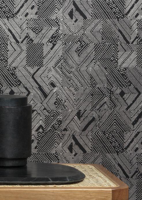 Geometric Wallpaper Wallpaper Darius black Room View