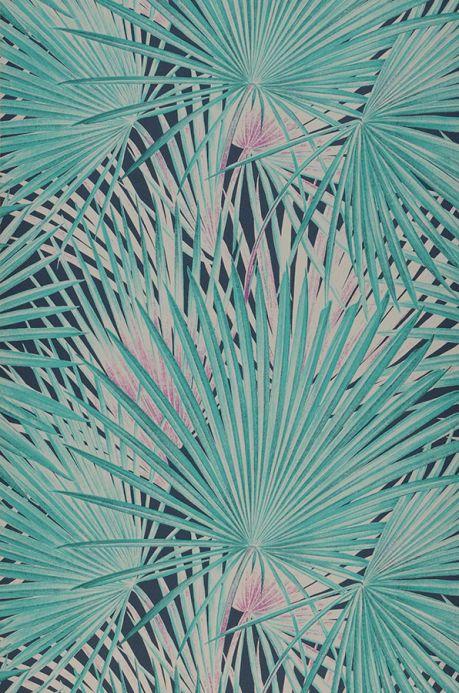 Papier peint floral Papier peint Iboka vert turquoise Largeur de lé