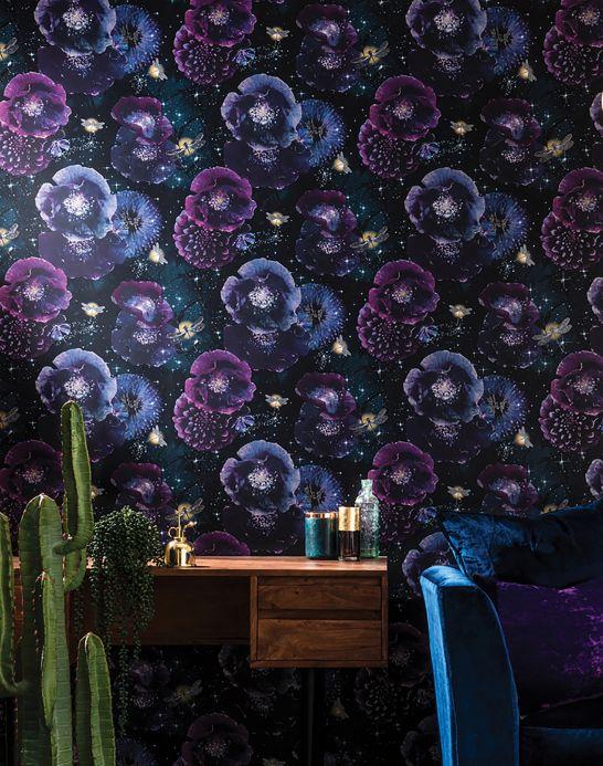 Papel de parede floral Papel de parede Novalee tons de violeta Ver quarto