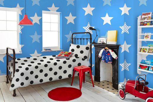 Papel pintado Adenike azul cielo Ver habitación