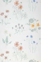 Wallpaper Melodie Matt Field flowers White Azure blue Pale green Light yellow Crimson violet  Fawn brown
