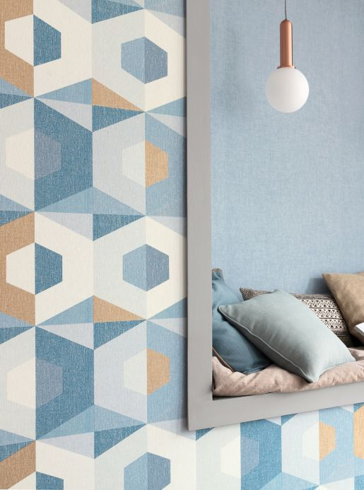Geometric Wallpaper Wallpaper Fabrice ocean blue Room View