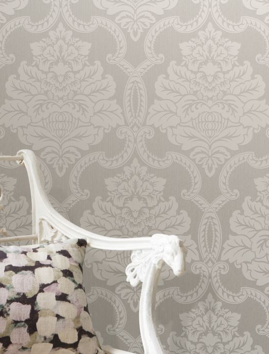 Textile wallpaper Wallpaper Amalia light grey Room View