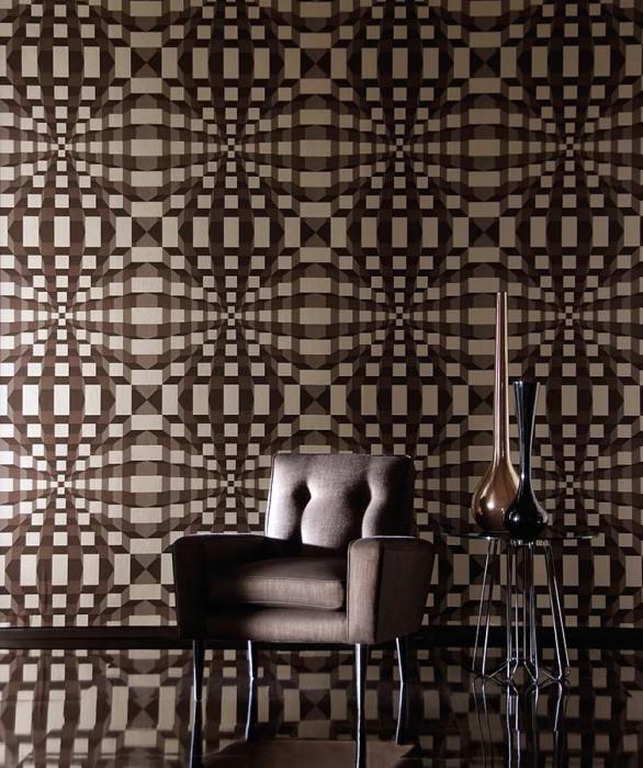 Wallpaper Illusion Shimmering Cuboids Grey brown Black White gold lustre