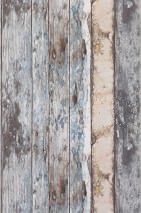 Wallpaper Wood Effect Matt Old wooden boards Blue Grey brown Light ivory White