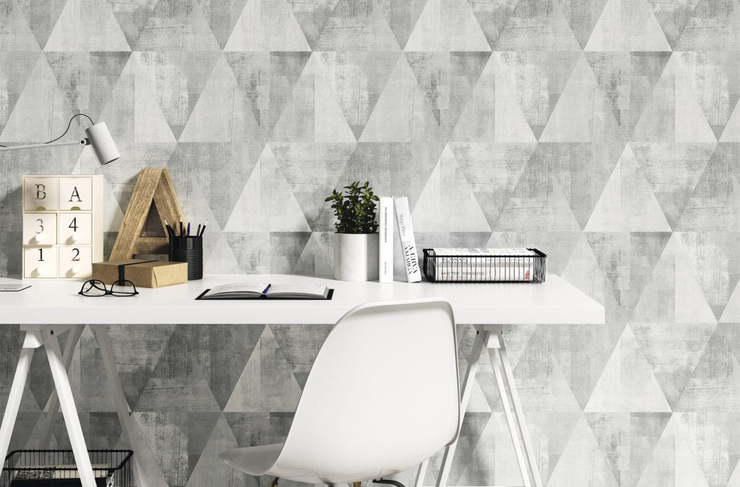 Wallpaper Sarino Matt Triangles Shabby chic Grey tones