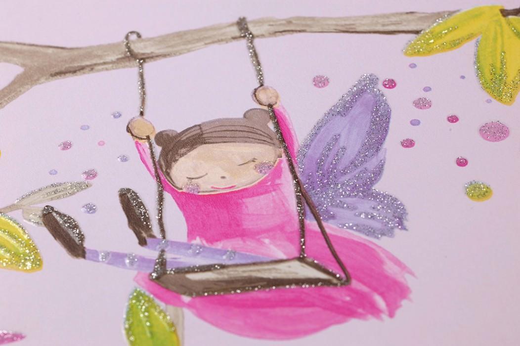 Carta da parati Ebbelie Disegno brillante Superficie di base opaca Alberi Fate Castelli Animali Viola pallido Giallo verde scintillante Viola scintillante Rosa  Blu turchese scintillante