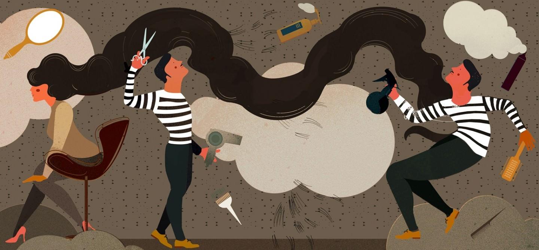 Des papiers peints design pour les salons de coiffure, etc. — attrait, marque de fabrique et divertissement