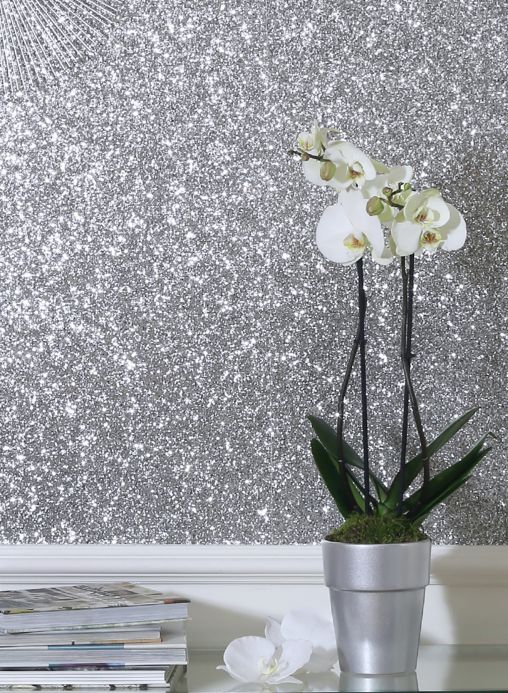 Funky Wallpaper Wallpaper Paragon silver glitter Room View