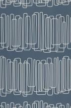 Papel pintado Hiromi Mate Elementos geométricos Azul oscuro Blanco