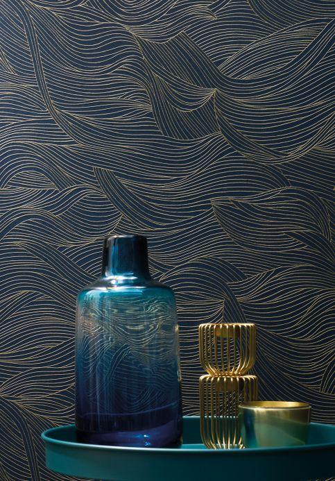 Papel de parede moderno Papel de parede Abanico azul escuro Ver ambiente