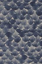 Wallpaper Poppy Matt Leaves Pebble grey Steel blue
