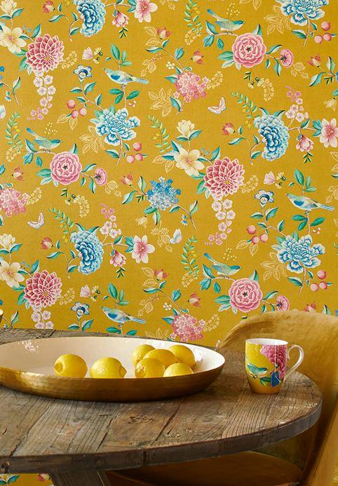 Floral Wallpaper Wallpaper Vanity golden yellow Room View