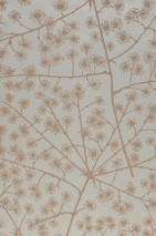 Wallpaper Belmira Matt pattern Shimmering base surface Branches with blossoms Pale green pearl lustre Grey beige