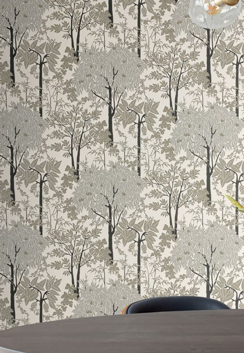 Country style Wallpaper Wallpaper Mirabelle grey tones Room View