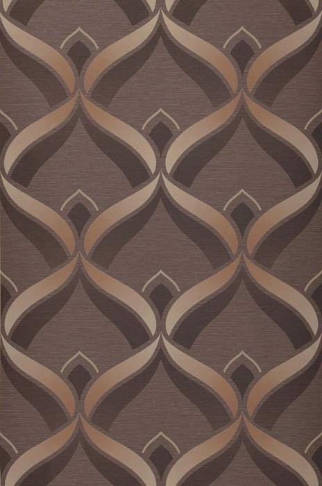 Wallpaper Angus Matt Retro ornaments Grey brown Pale brown Dark brown Light beige brown