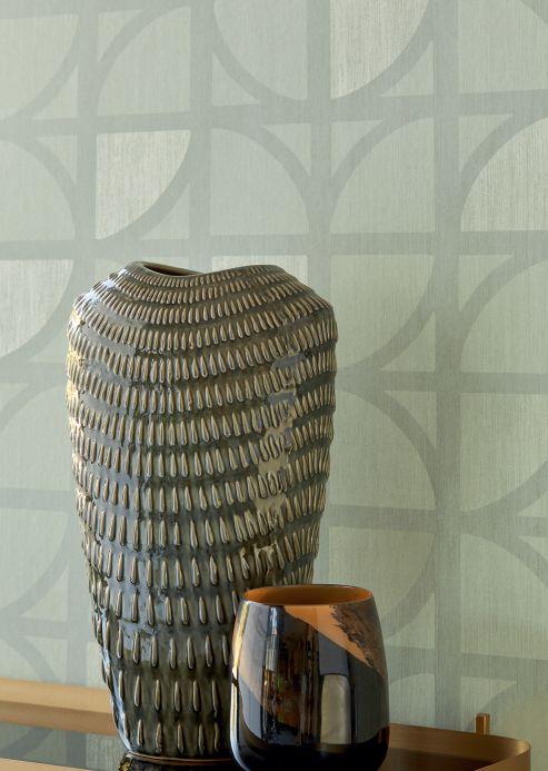 Papier peint géométrique Papier peint Salima gris mousse Vue pièce