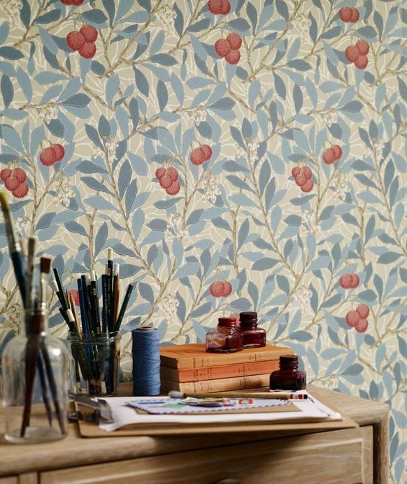 Classic Wallpaper Wallpaper Antonia pastel blue Room View