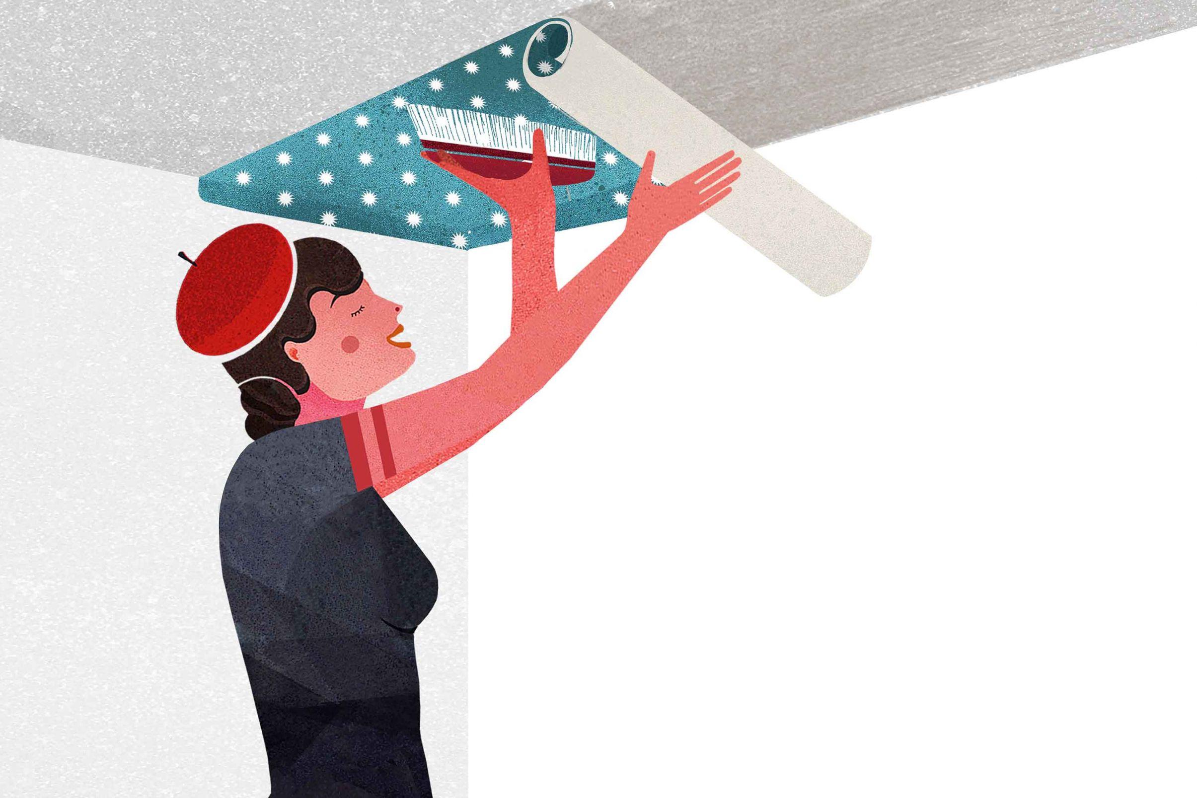Come-tappezzare-il-soffitto-Posare-la-carta-da-parati