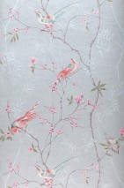 Wallpaper Comtesse Shimmering Birds Branches with leaves and blossoms Eggshell Heather violet Light grey Mint turquoise Red orange Pale blue