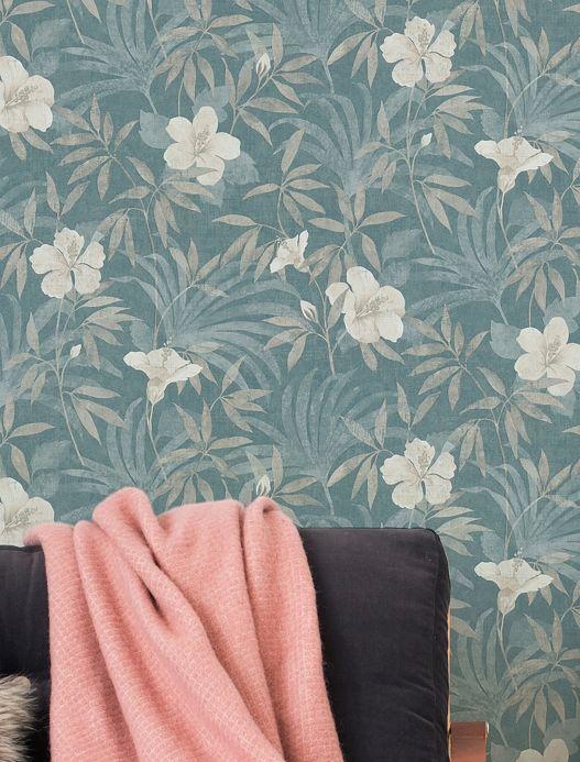 Papel pintado floral Papel pintado Tara turquesa menta Ver habitación